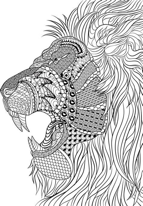 lion zentangle animal coloring pages for adults