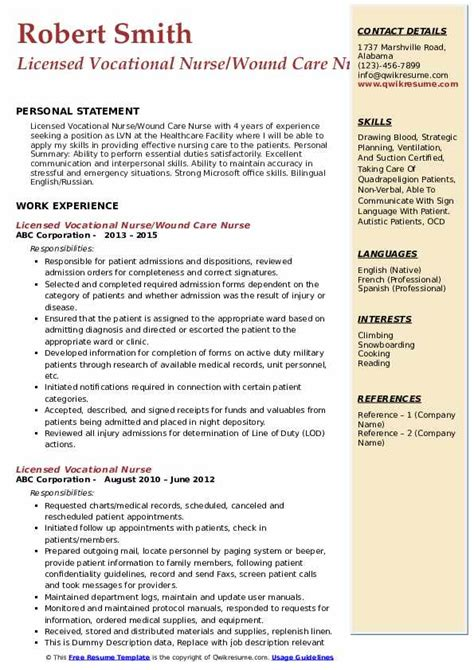 licensed vocational nurse resume samples qwikresume