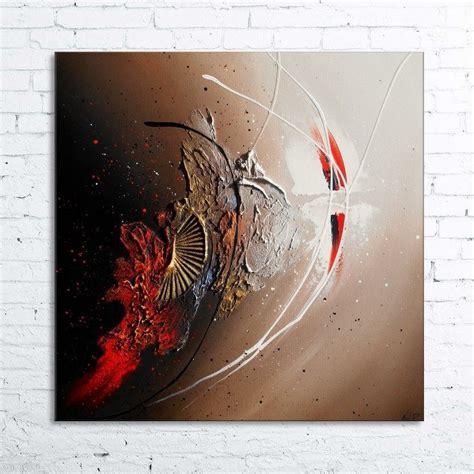 peinture quot rescha quot tableau abstrait contemporain toile acrylique en relief noir taupe marron