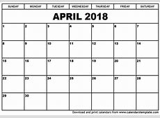 April 2018 Calendar monthly calendar template