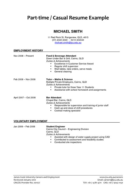 Time Employment Resume Template by Resume Exles Best Part Time Resume Template Objective Exle Cover Letter Student Fast