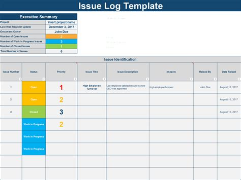 issue log template an issue log excel template by ex deloitte consultants