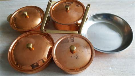 culinox spring switzerland original stainless steel copper cookware set  pans  lid catawiki