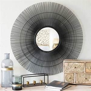 Miroir Rond 50 Cm : miroir rond en m tal noir d 70 cm damara maisons du monde ~ Dailycaller-alerts.com Idées de Décoration