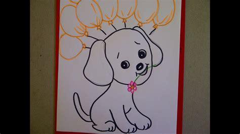 zeichnen ideen anfänger geburtstagskarte mit hund hundewelpen zeichnen ideen zum geburtstag birthday card with a