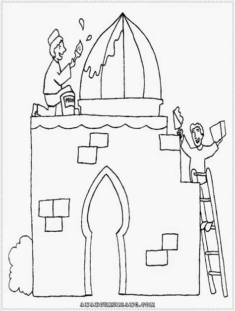mewarnai gambar orang membangun masjid anak cemerlang