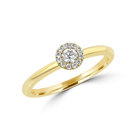 ct yellow gold ct  diamond halo cluster ring
