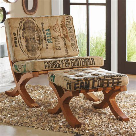 reclaimed coffee sack butaca chair  footstool