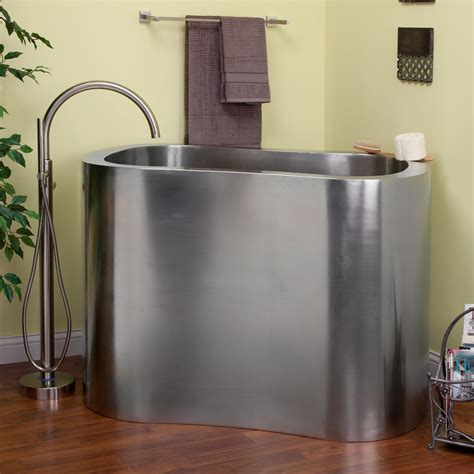 soaking tub 43 quot brushed stainless steel soaking tub bathroom