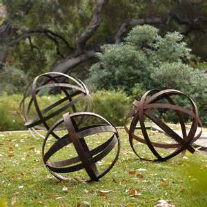 iron sphere rusted in garden ornaments contemporary