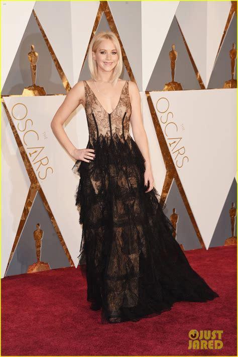 Jennifer Lawrence Wears Sheer Dress On Oscars 2016 Red