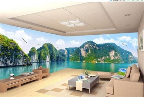 printed rectangular  scenery wallpaper rs  roll