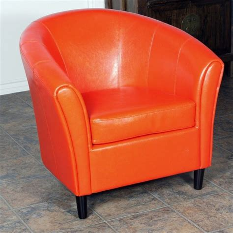 trent home jean leather barrel club chair in orange 708312cy