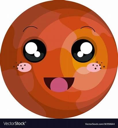 Mars Planet Kawaii Vector Character Vectorstock Royalty