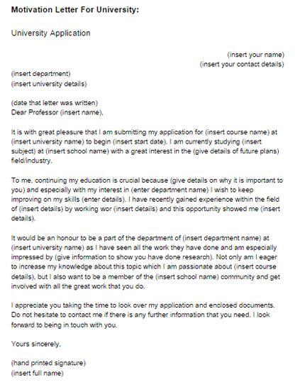 write  application letter  university