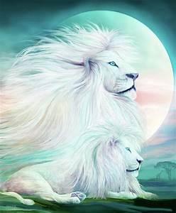 White Lion - Spirit King Mixed Media by Carol Cavalaris