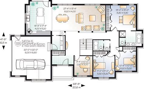 plan maison 100m2 plein pied 3 chambres classique bordure de lac chalet w3224 maison