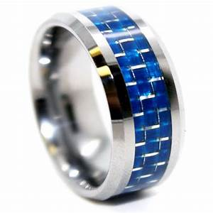 8mm tungsten carbide blue carbon fiber mens wedding ring for Carbon fibre wedding ring