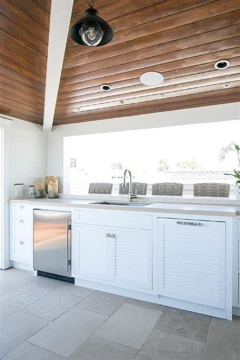White Louvered Outdoor Kitchen Cabinets   Cottage   Kitchen