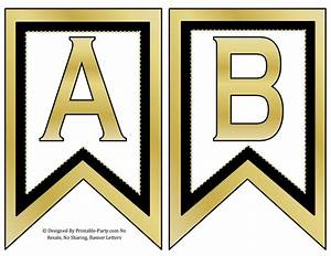 small swallowtail printable banner letters a z numbers 0 With gold banner letters
