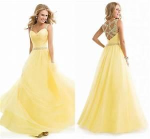 Amazing Light Yellow Prom Dresses Hot Style Cheap Sheer ...