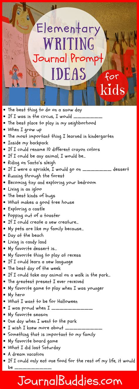 elementary writing prompt ideas  kids