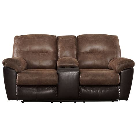 Loveseat Recliner by Signature Design By Follett Two Tone Faux Leather