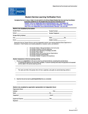 bcps service learning hours form online student service learning verification form fill in