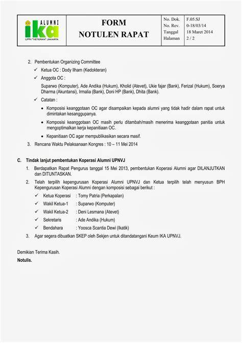 Contoh Notulen Rapat Kantor Pemerintah by Notulen Rapat Persiapan Kepanitiaan Kongres Alumni Upnvj