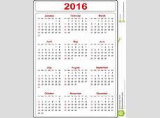 Eenvoudige Kalender 2016 vector illustratie Illustratie