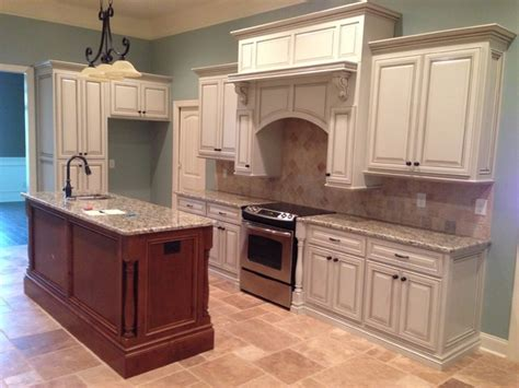 kitchen used cabinets alabaster white glazed with harvest island 3418