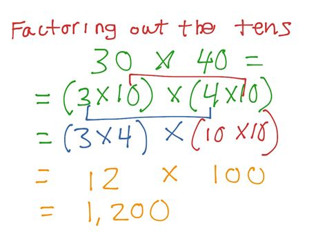 Factoring Out The Tens  Math, Elementary Math, Math 4th Grade, Multiplication Showme