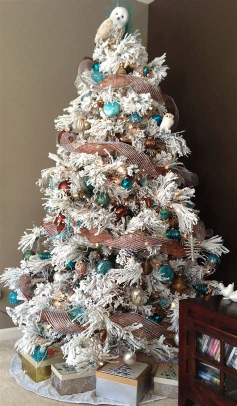 flocked christmas trees ideas  pinterest