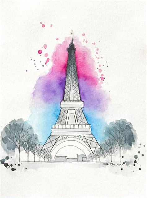 paris print eiffel tower watercolor painting paris