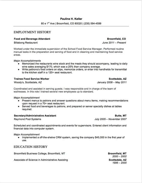 7 food and beverage attendant resume sles