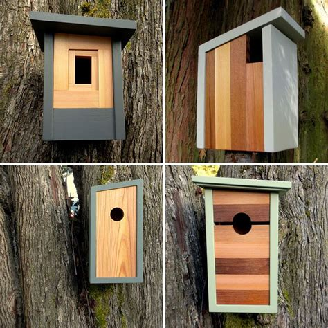 modern wood birdhouses  inspired  craftsman