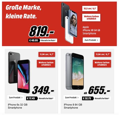 Apple Rabatt Aktion Bei Media Markt 0 Prozent Finanzierung U A Iphone Xr Iphone 8 Apple