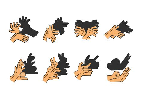 set of shadow puppet free vector