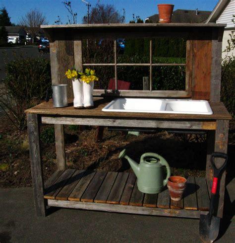 potting bench decorating inspiration with oak wood frames