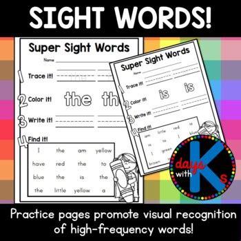 kindergarten sight word pra  amy ginn teachers pay