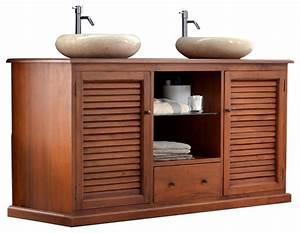 Etagere Sous Lavabo : meuble sous vasque en bois d 39 acajou 145 loggia bord de mer console et meuble sous lavabo ~ Teatrodelosmanantiales.com Idées de Décoration