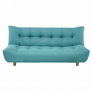 Canape clic clac convertible 3 places bleu turquoise cloud for Canapé convertible clic clac