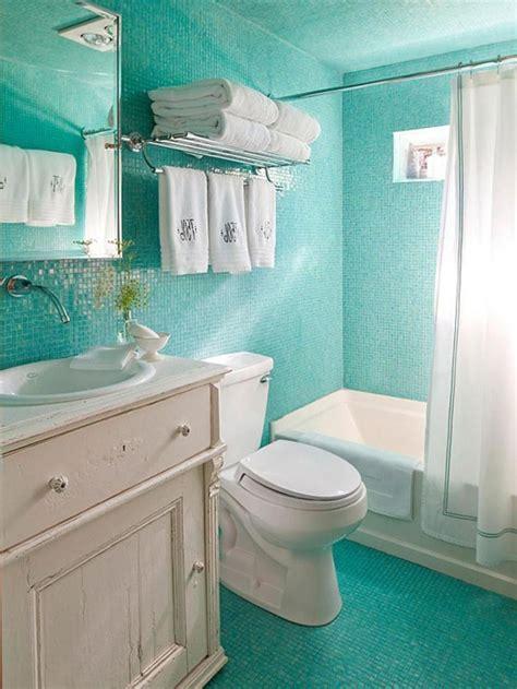 chic turquoise mosaic tiles ocean inspired bathroom