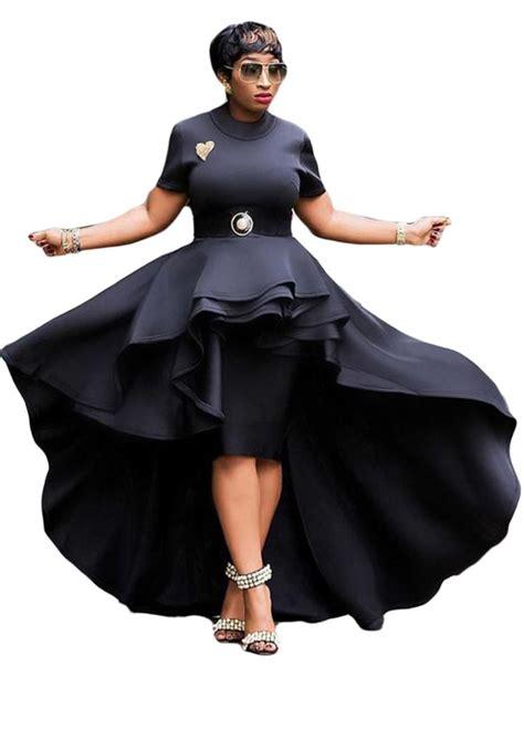 Short Sleeve Runway High Low Peplum Top Dresspeplum Dress