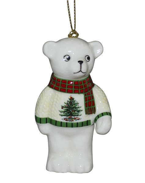 christmas tree teddy bear ornament by spode