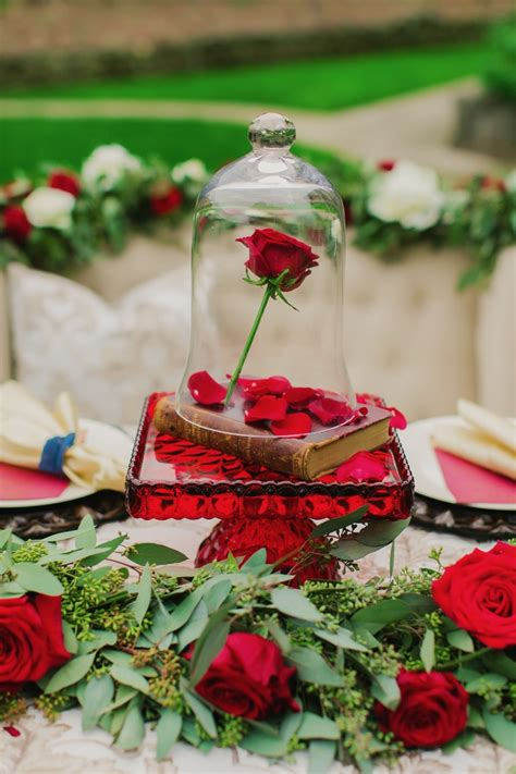 Beauty and the Beast Wedding Ideas in Gold Navy and Red