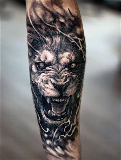 lion forearm tattoos  men manly ink ideas