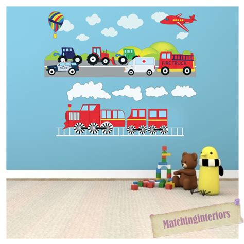 Truck Wallpaper Childrens Decor by Childrens Transport Vehicles Cars Wall Stickers Decals