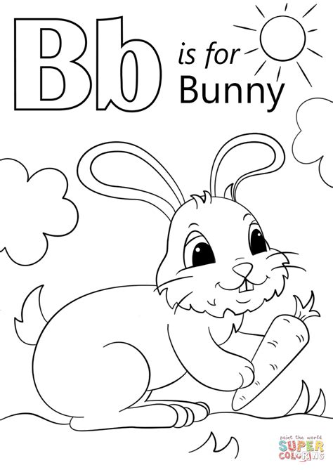 letter b is for bunny coloring page free printable 176 | letter b is for bunny coloring page