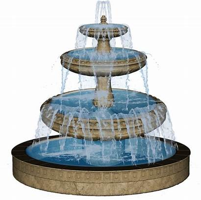 Fountain Water Clipart Drawing Clip Transparent Fountains